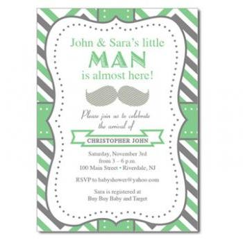 Mustache Baby Invitation - Custom Colors